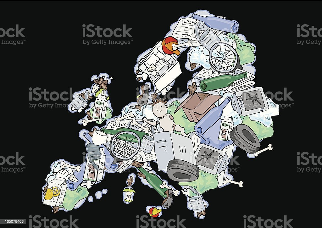 Landfill Europe - the Importance of Recycling royalty-free stock vector art