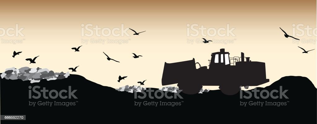 Landfill Feeding Frenzy vector art illustration