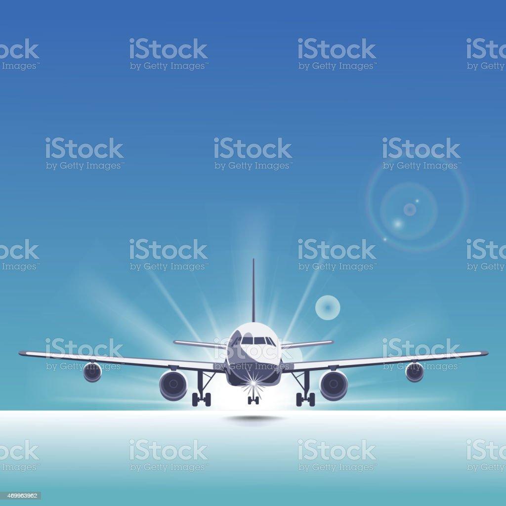 Landing plane vector art illustration