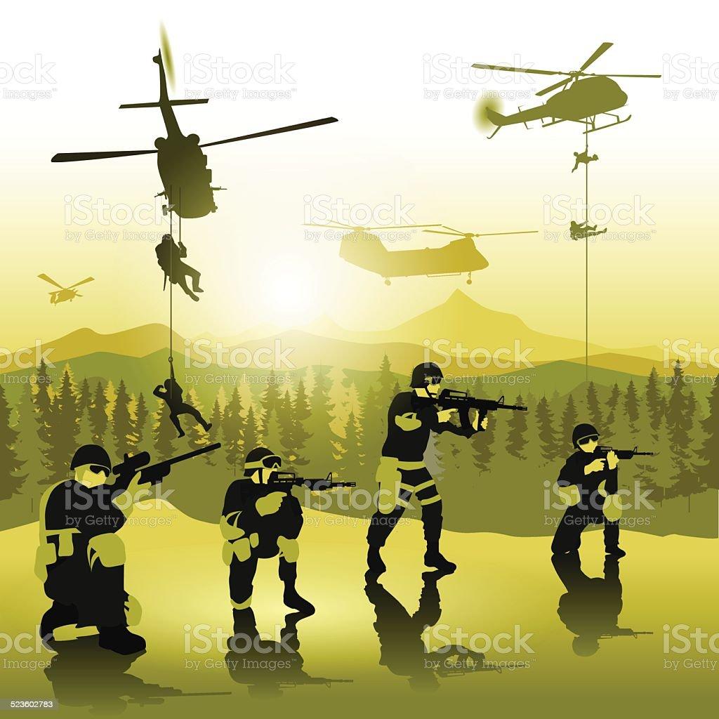 Landing troops vector art illustration