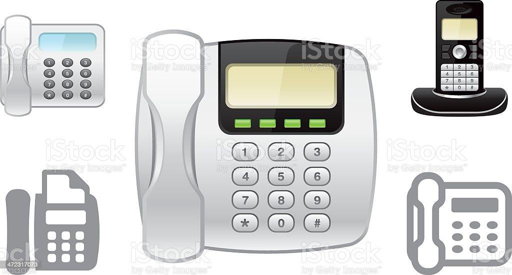 Landline phone object icons royalty-free stock vector art