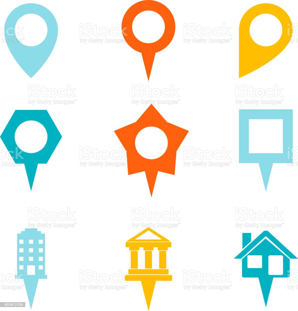 Landmark and Showplace Symbol Map Pointer Mark Icons Vector Template vector art illustration