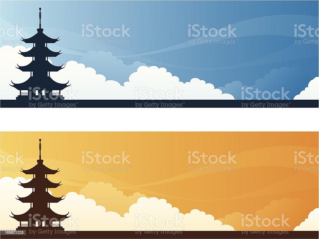 Landmark Banners - Asia vector art illustration