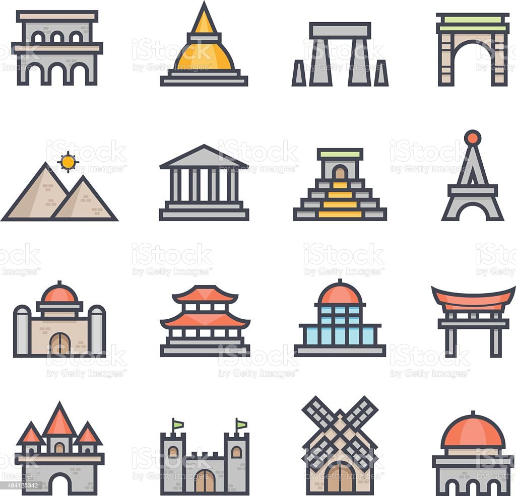 Landmark Icon Bold Stroke with Color vector art illustration