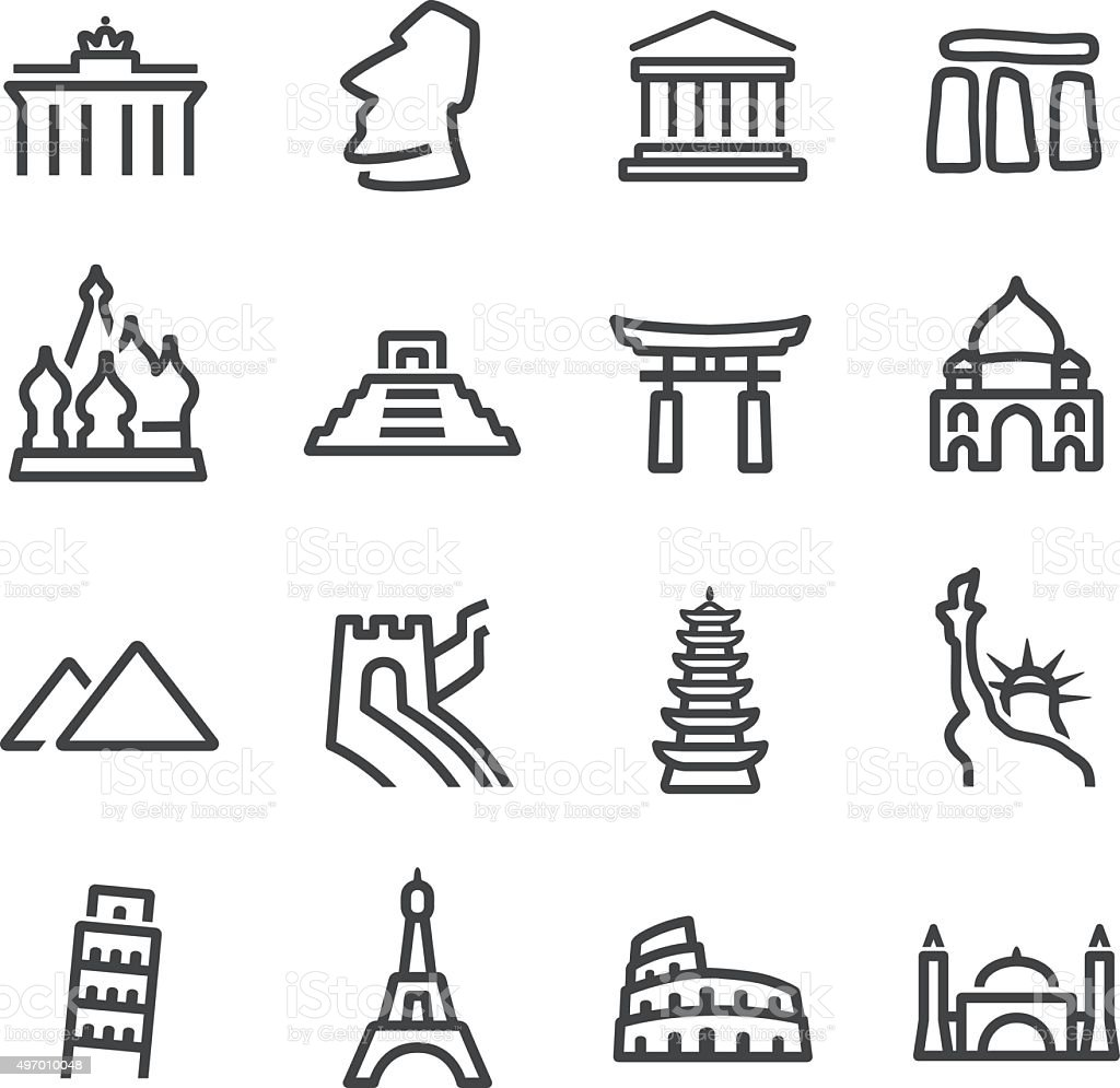 Landmark Icons - Line Series vector art illustration