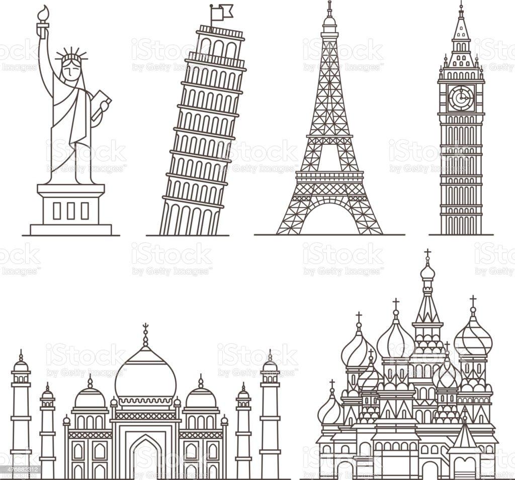 Landmark icons. vector art illustration