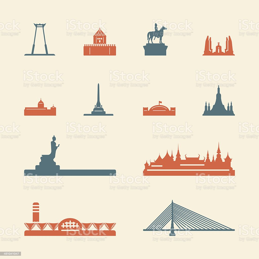 Landmark of Thailand Icons - Color Series | EPS10 royalty-free stock vector art