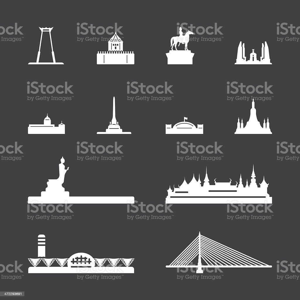 Landmark of Thailand Icons - White Series   EPS10 royalty-free stock vector art