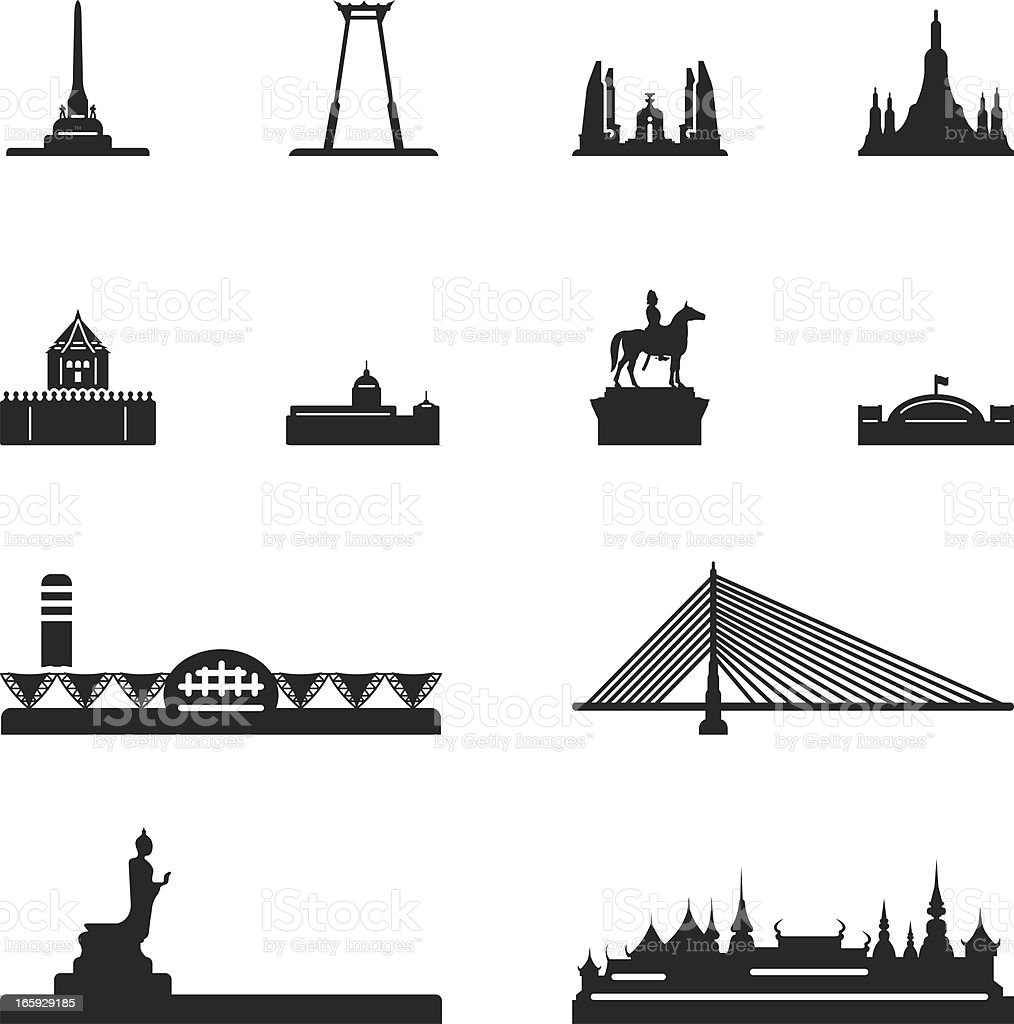 Landmark of Thailand Silhouette Icons royalty-free stock vector art