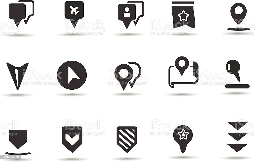 Landmark Pointer Icons vector art illustration