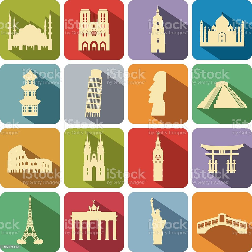Landmark set vector art illustration