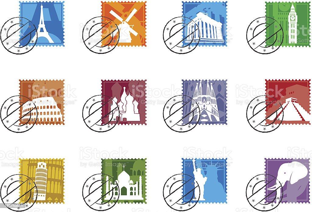 Landmark Stamps icon set royalty-free stock vector art