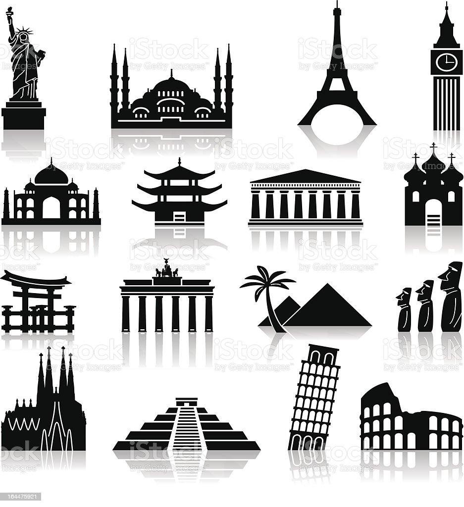 Landmark travel icons royalty-free stock vector art