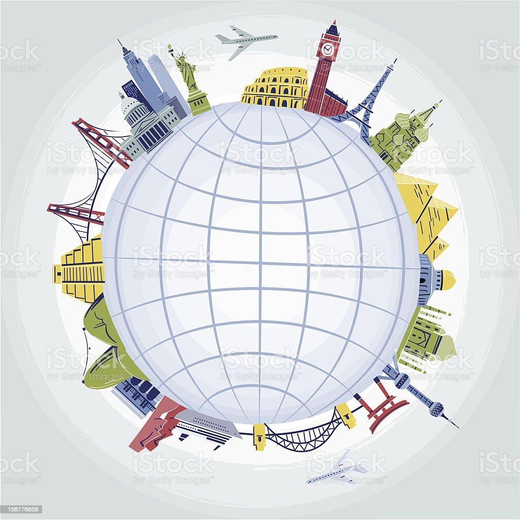 Landmarks around the World vector art illustration