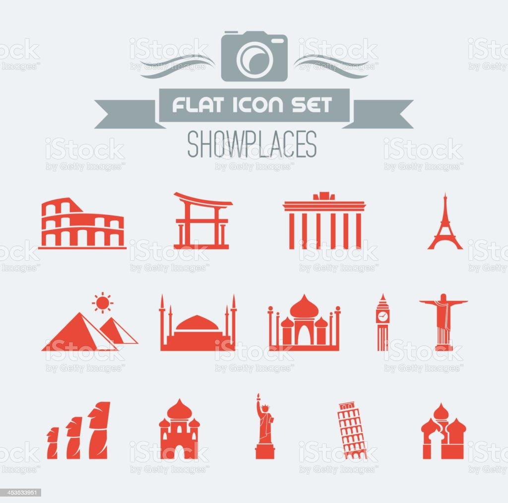 Landmarks Flat Icon Set vector art illustration