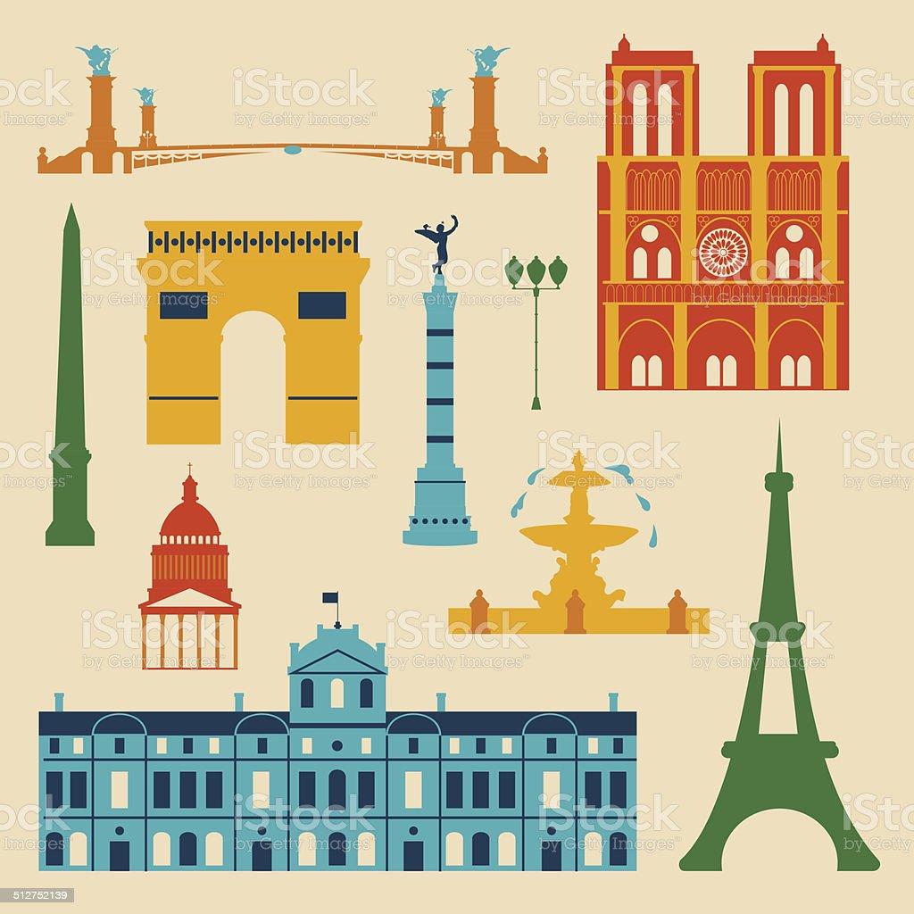 Landmarks of France vector art illustration