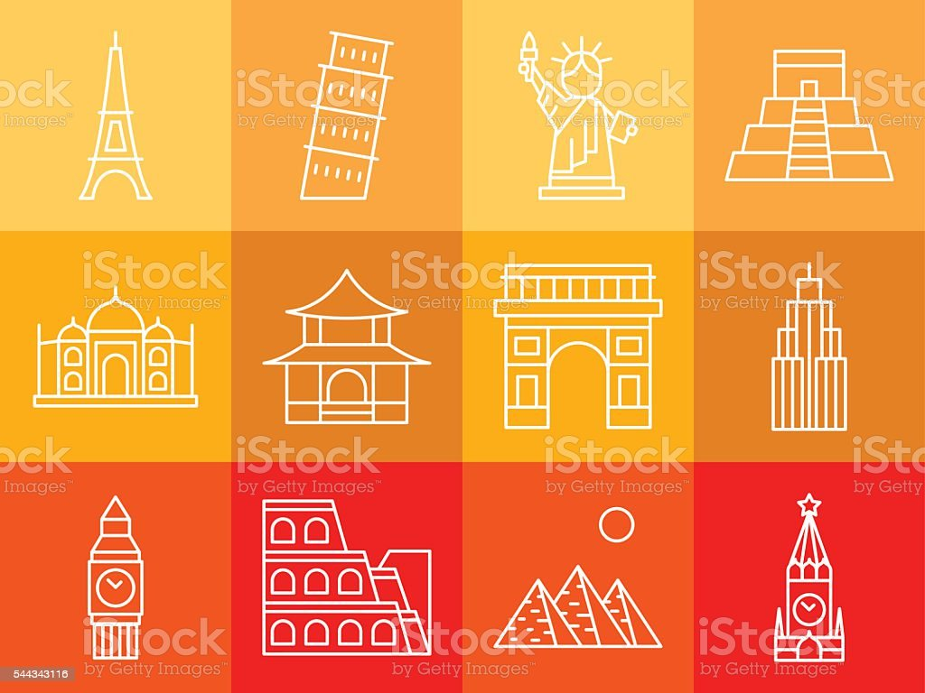 Landmarks, travel vector icons set vector art illustration