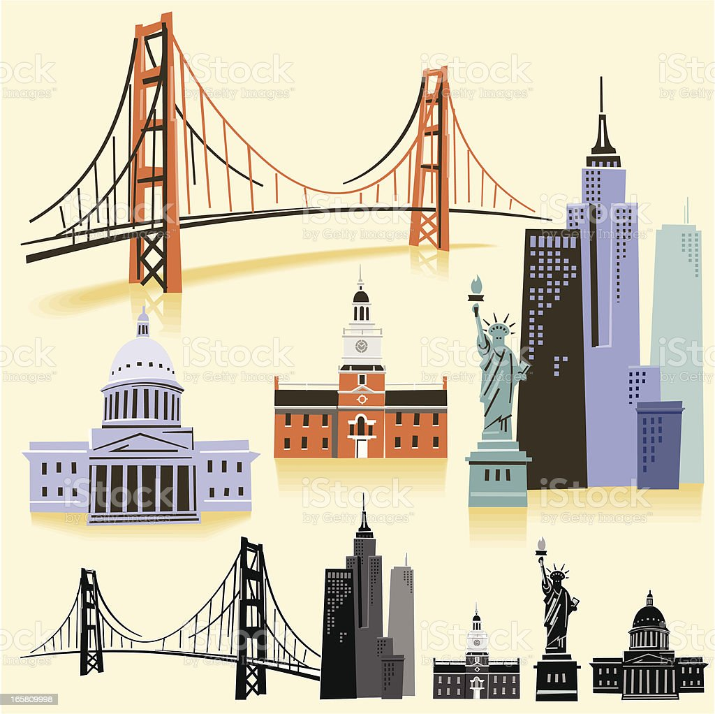 USA Landmarks vector art illustration