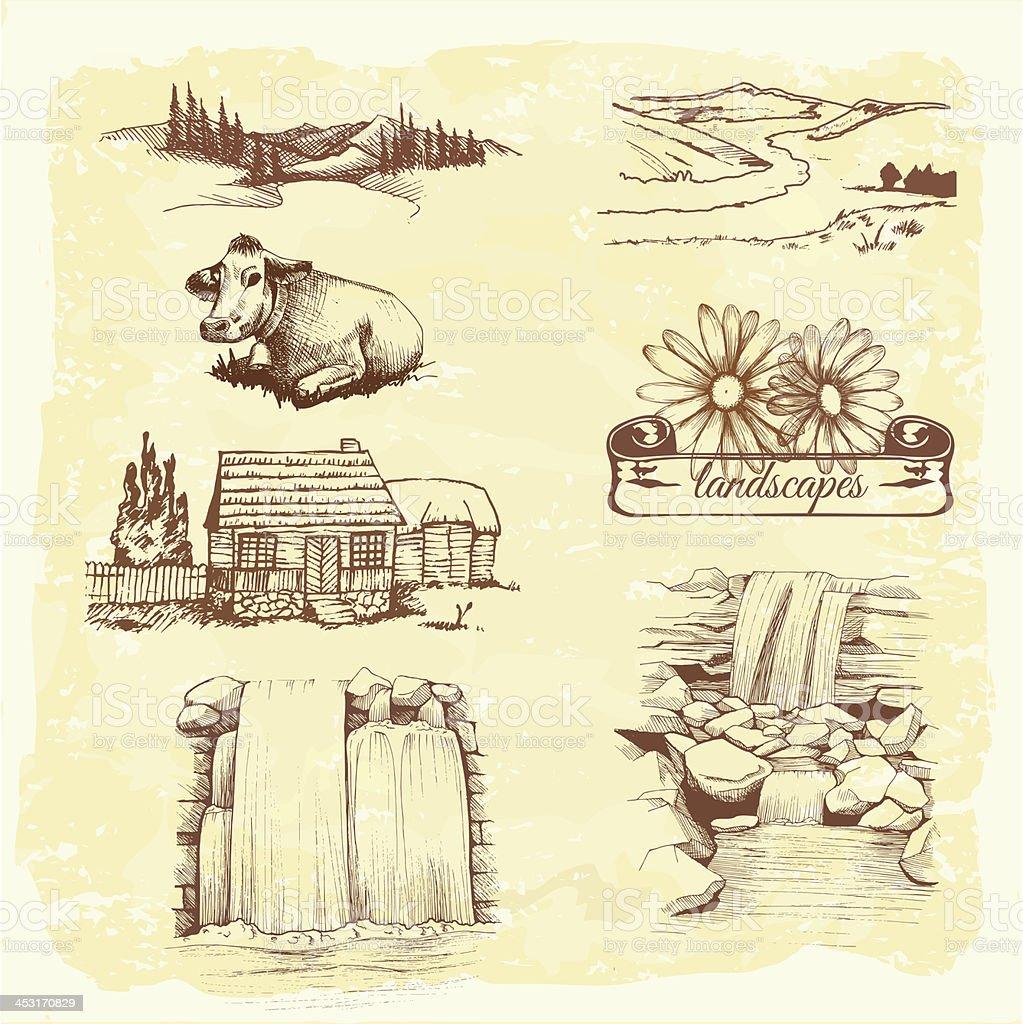 landscape, agriculture, farming, sketch drawing vector art illustration