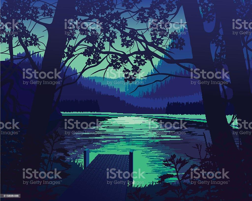 Landscape background vector art illustration