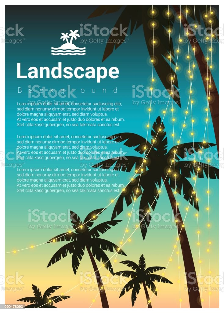 Landscape background with palm trees at tropical beach party , vector , illustration vector art illustration