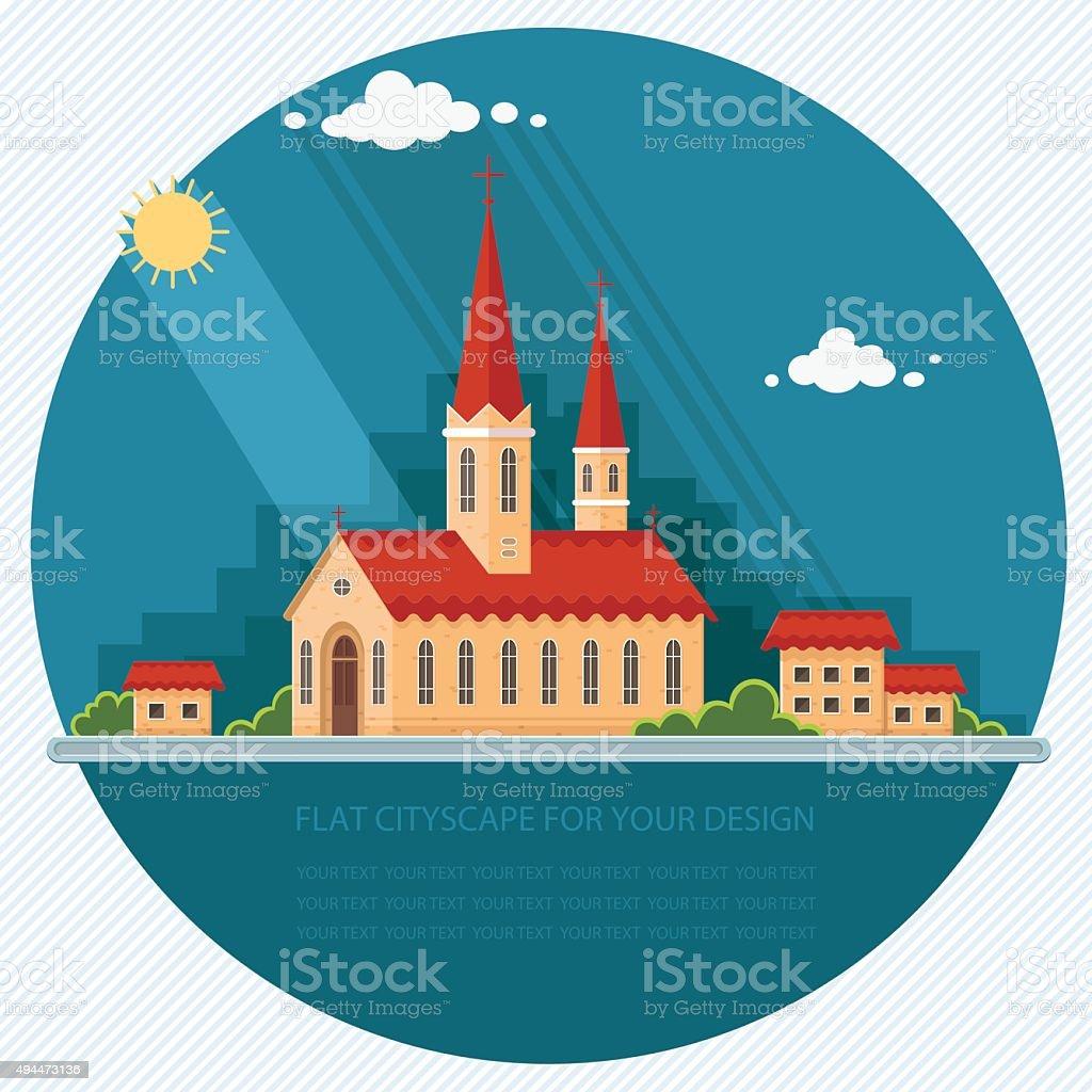 Landscape church on the background of the city. Flat illustration vector art illustration