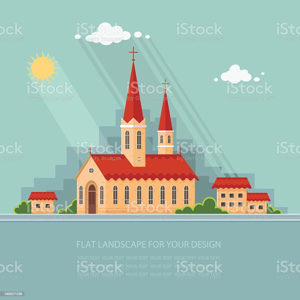 Landscape church on the background of the city. Flat vector vector art illustration