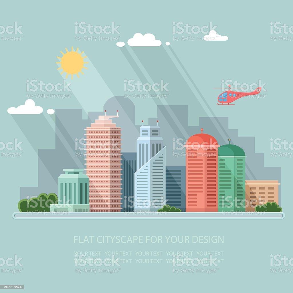landscape cityscape illustration. metropolis street and trees background. Flat style vector art illustration