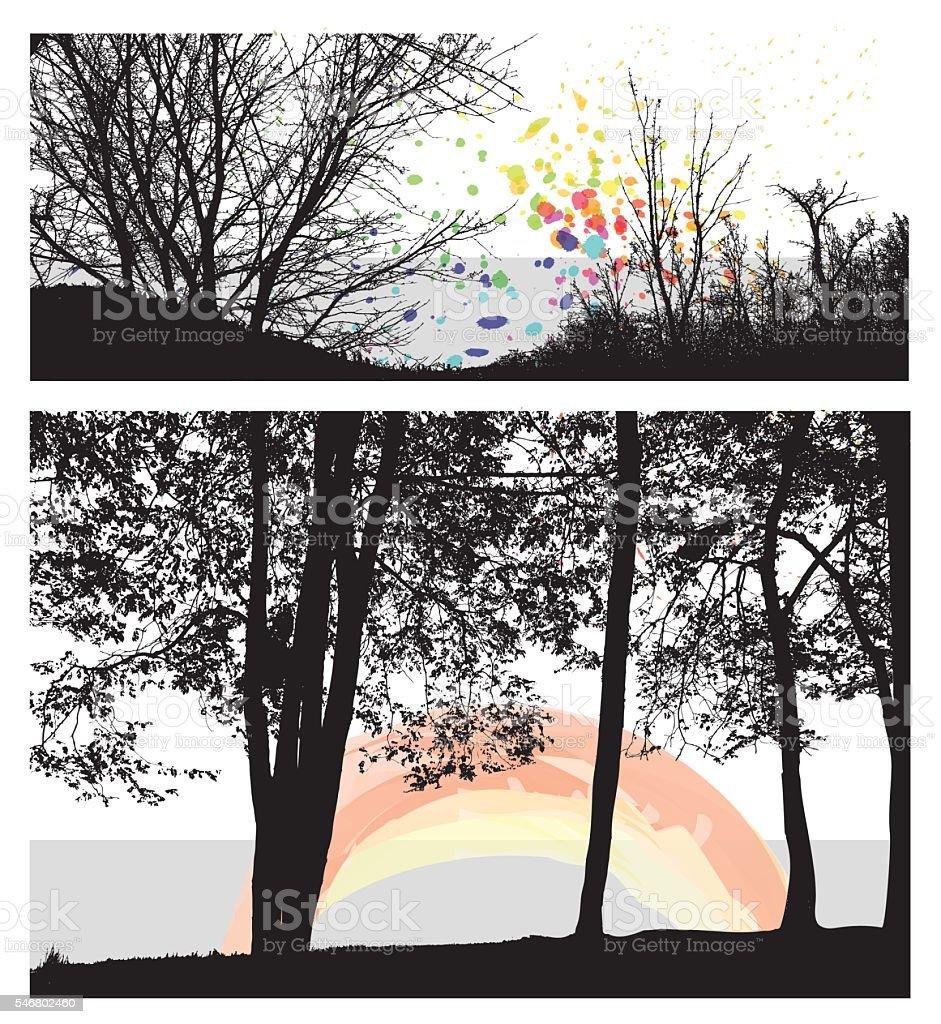 Landscape Color Highlights vector art illustration