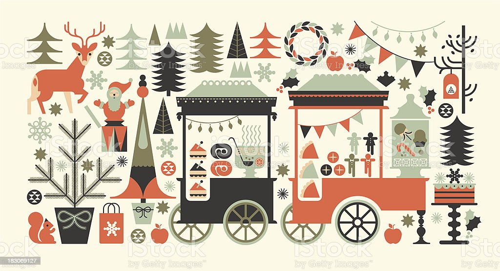 Landscape composition with Christmas market. vector art illustration