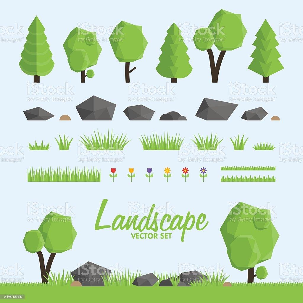 Landscape constructor icons set.  elements for landscape design. vector art illustration