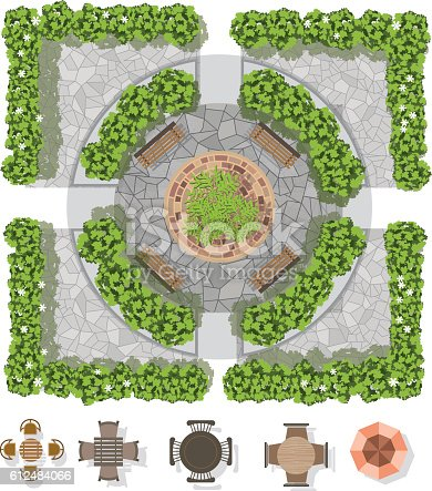 landscape design composition with top view gardening and furniture stock vector art 612484066 istock