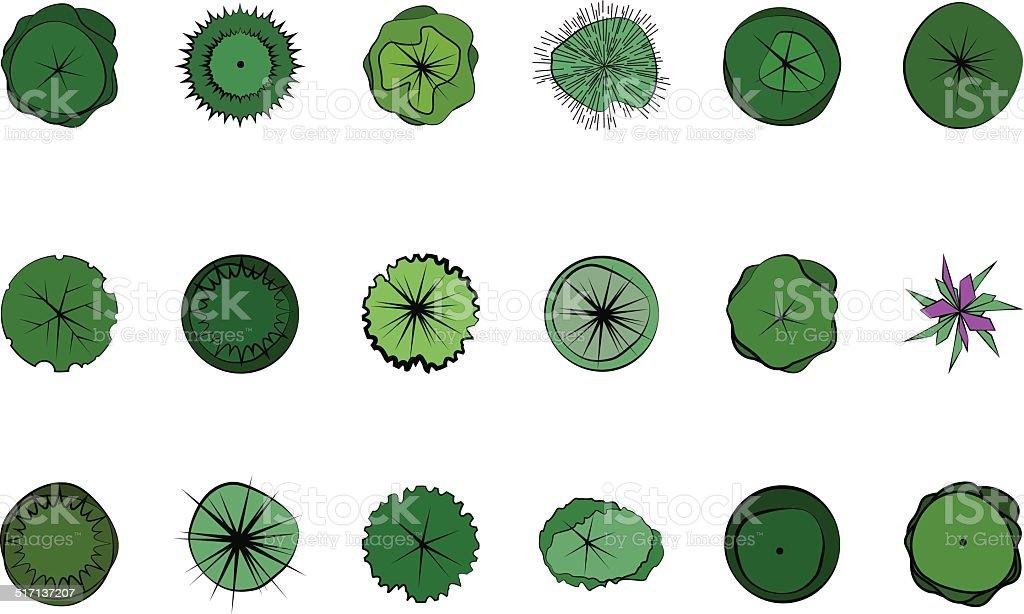 Landscape Design Symbols vector art illustration