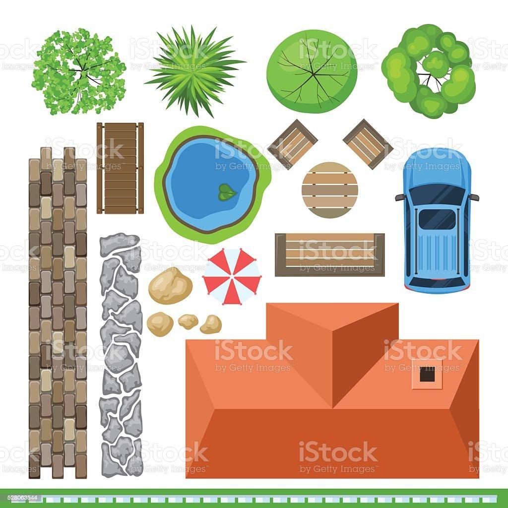 Landscape elements for project design, top view vector art illustration