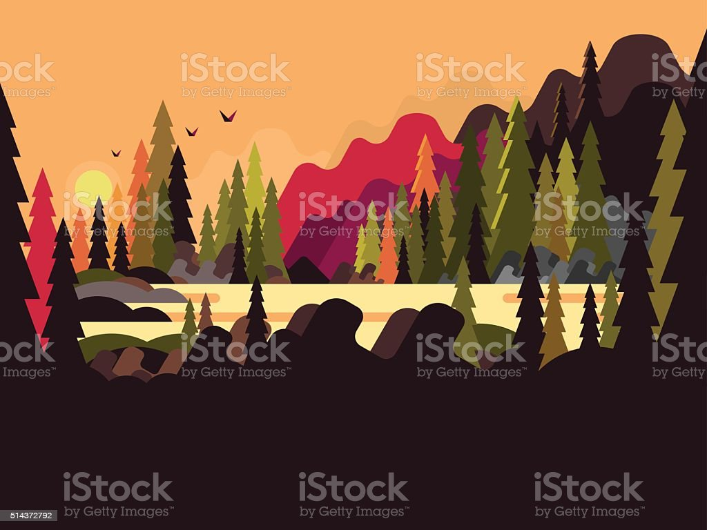 Landscape forest flat design vector art illustration