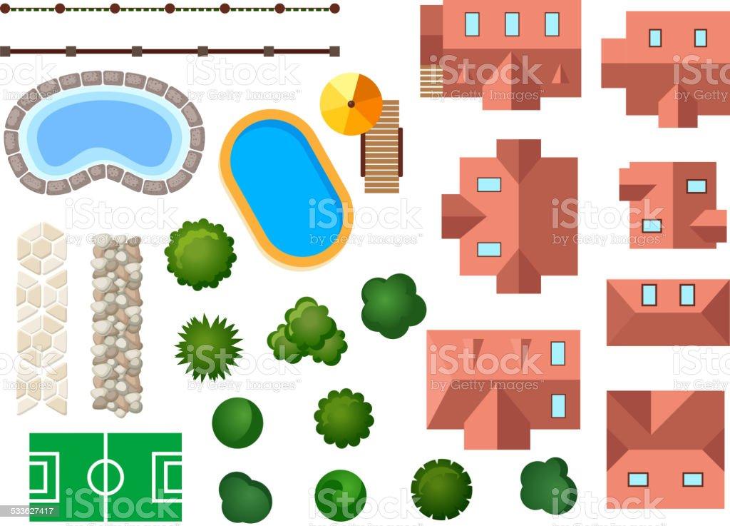 Landscape, garden and architectural elements vector art illustration