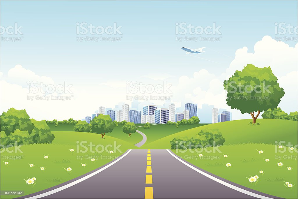 Landscape - green hills with tree and cityscape royalty-free stock vector art