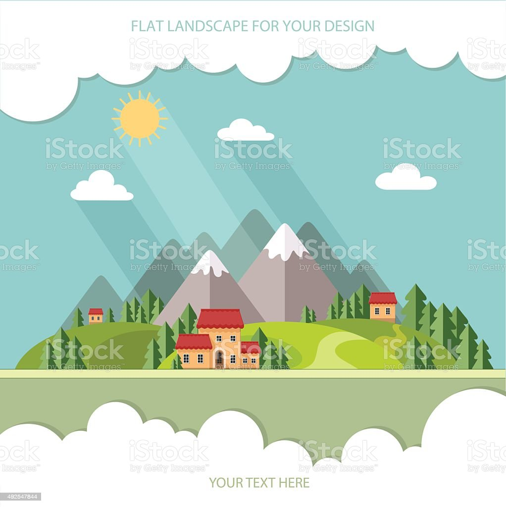Landscape. Houses in the mountains among the trees. Flat style vector art illustration