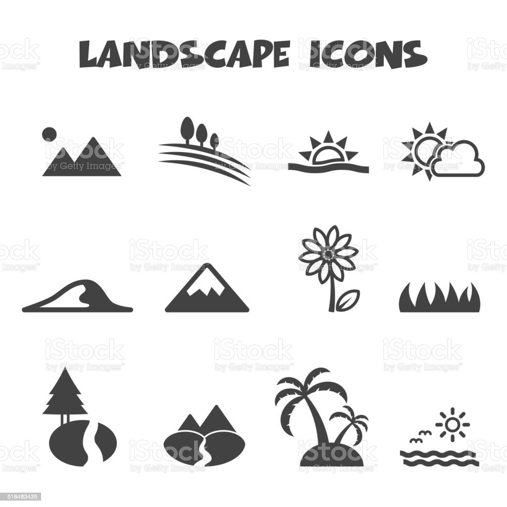 landscape icons vector art illustration