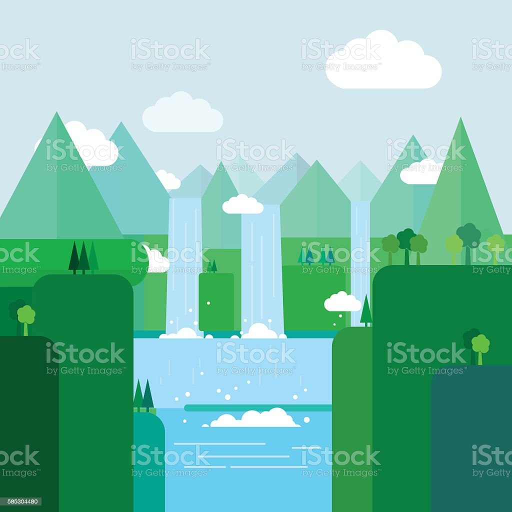 Landscape illustration. Mountain river, waterfall, hills, clouds. Flat design vector. vector art illustration