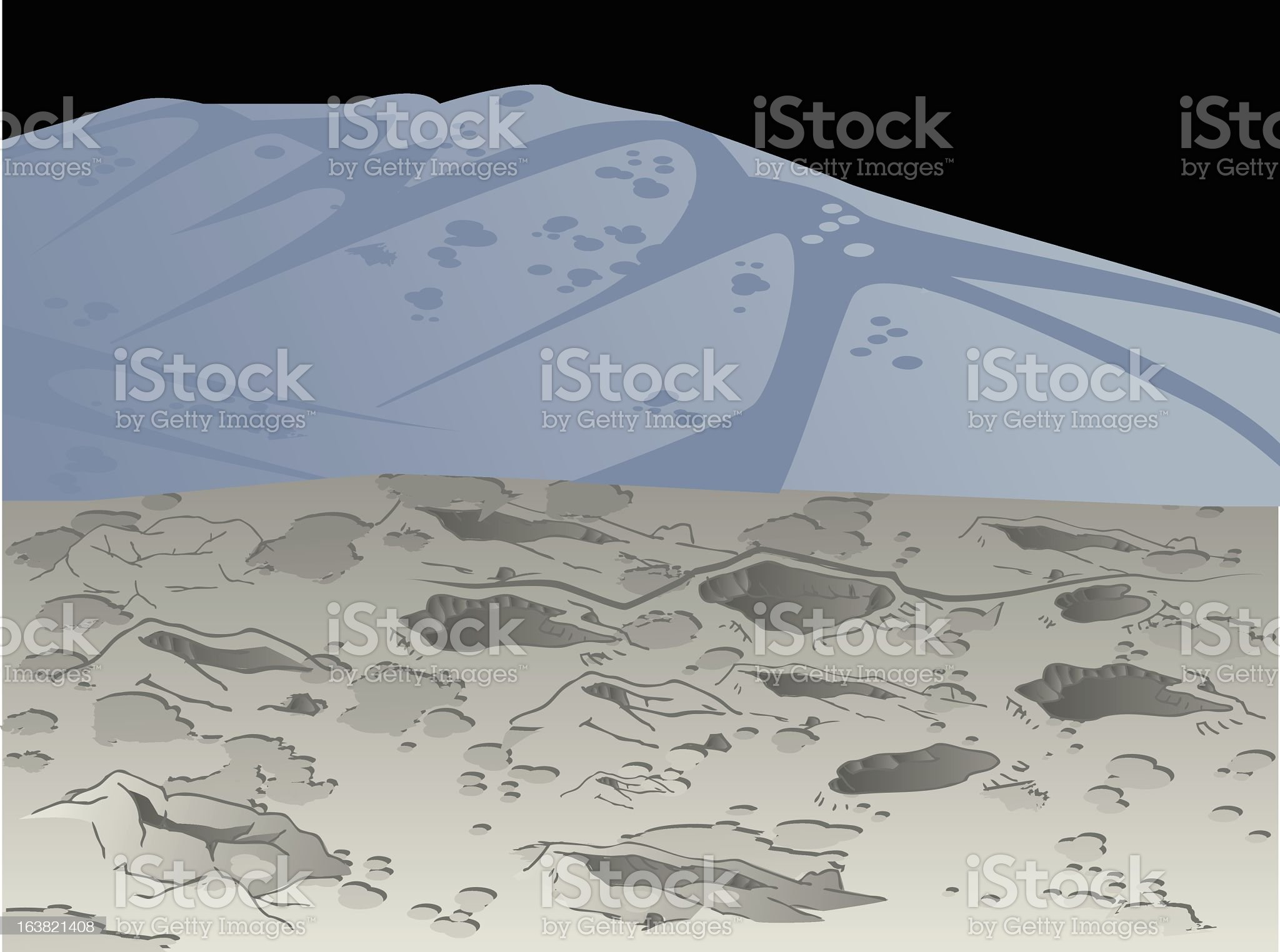 Landscape illustration of the moon royalty-free stock vector art