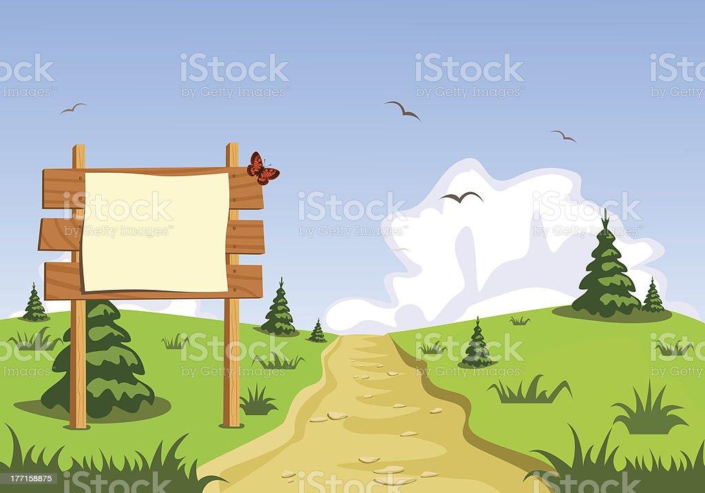 Landscape in front of blank blackboard navigation royalty-free stock vector art