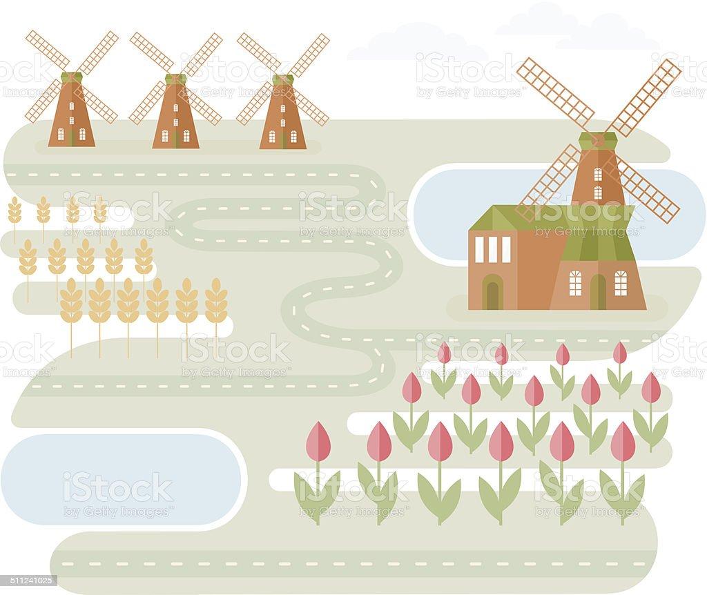 Landscape In Holland vector art illustration