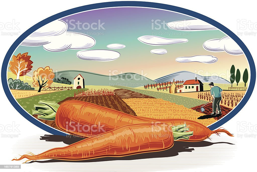 landscape in oval frame and carrots royalty-free stock vector art