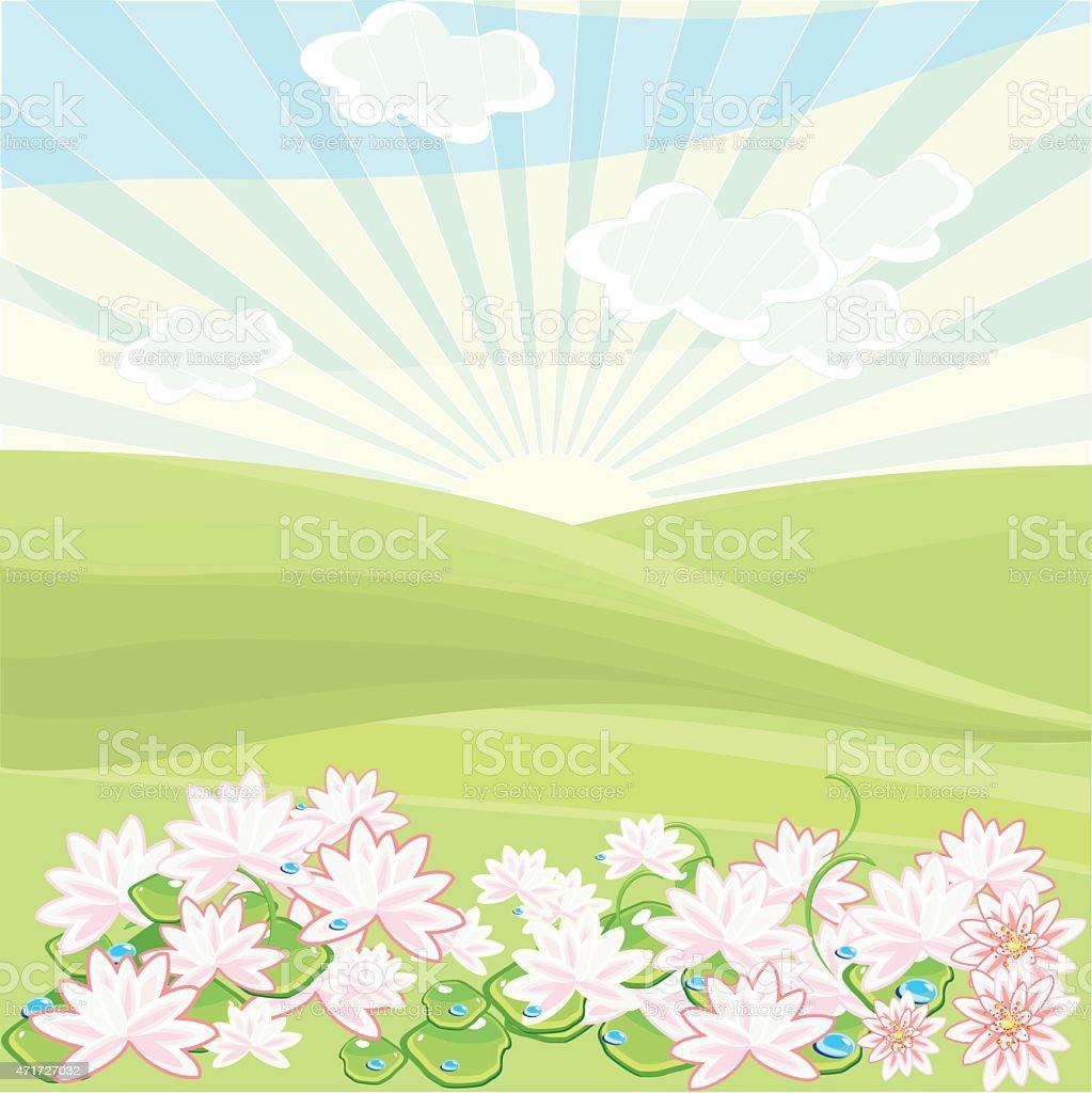 Landscape in summer day with lotuses vector art illustration