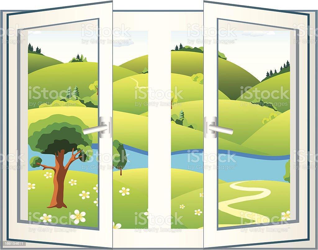 Landscape in the open window royalty-free stock vector art