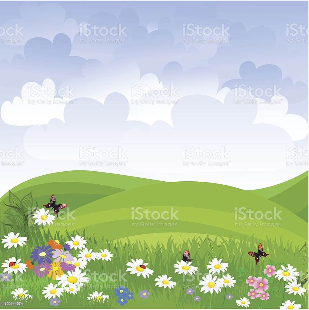 landscape lawn flowers royalty-free stock vector art