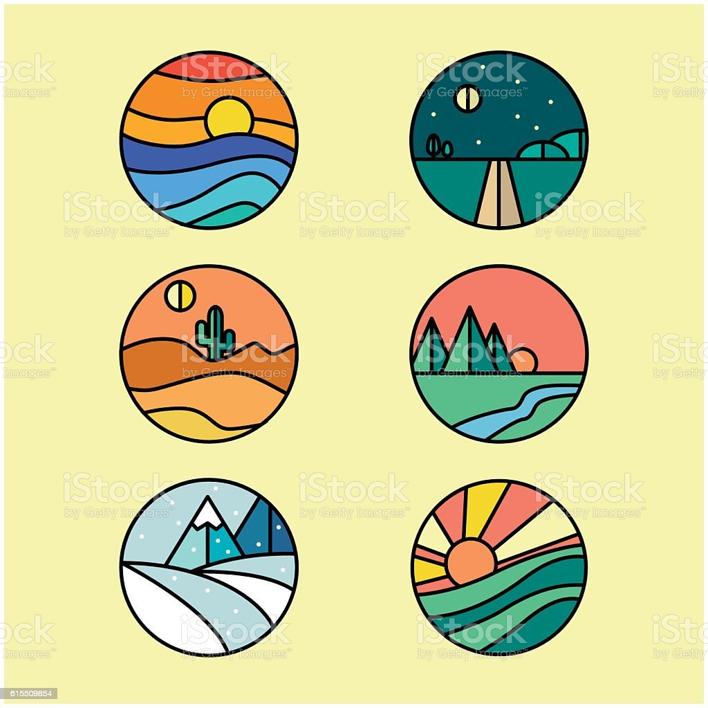 Landscape logos vector art illustration