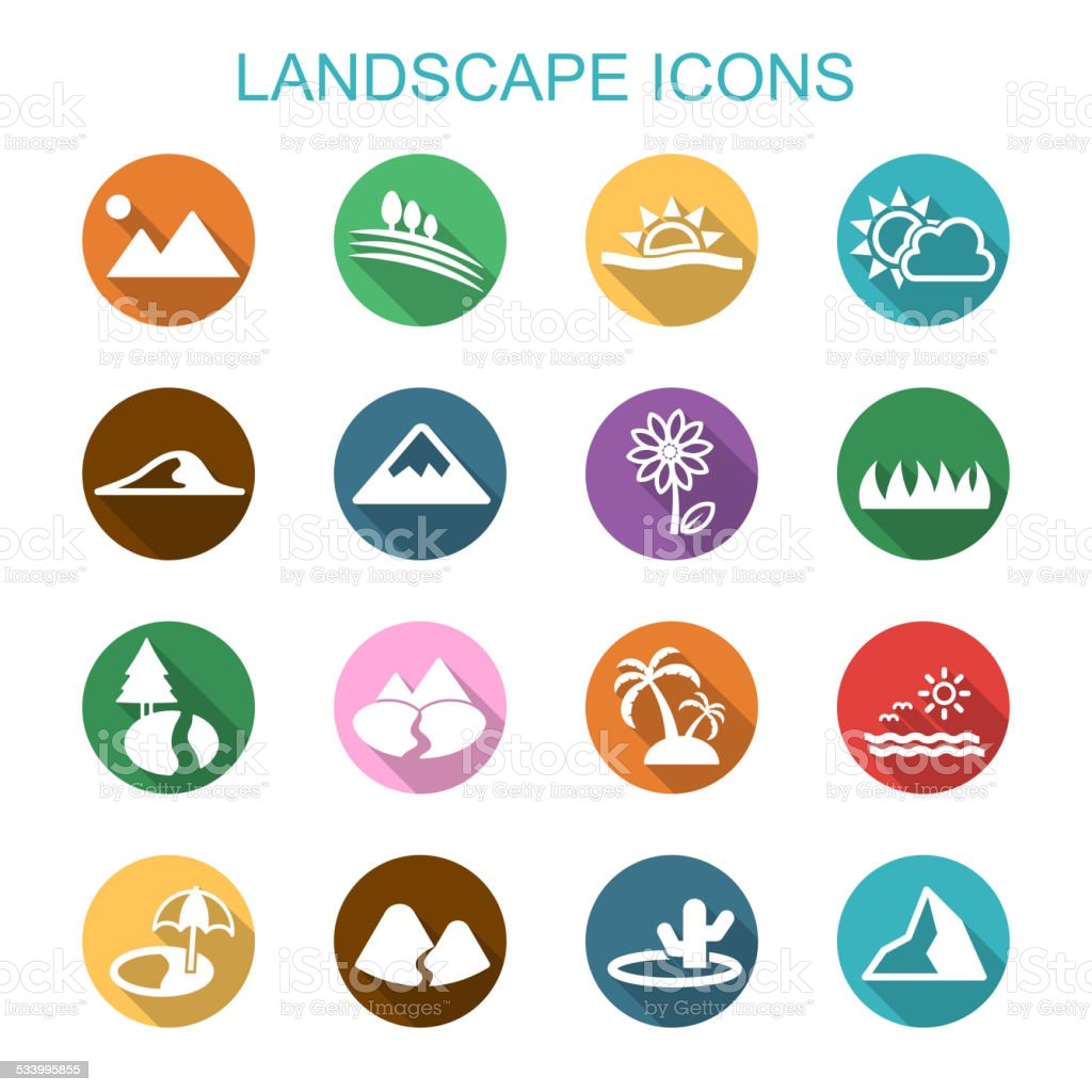 landscape long shadow icons vector art illustration