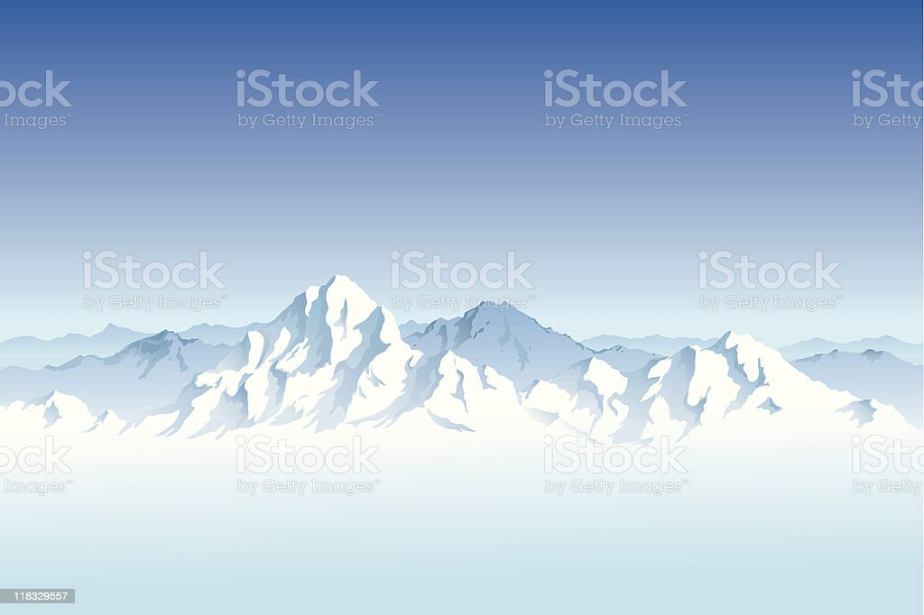 Landscape of a snowy mountain range vector art illustration